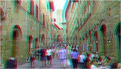Straßenszene in San Gimignano, Toscana (3D+MPO-Link)