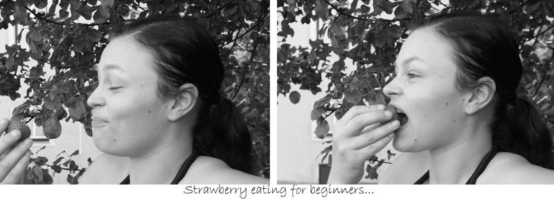 strawberry eating..
