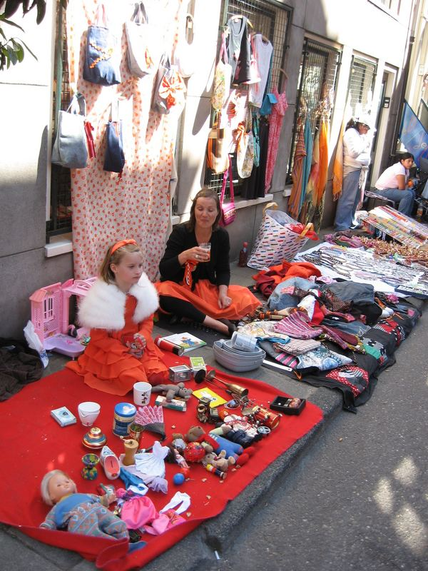 Street market on Queen's Day in Amsterdam