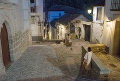 Streets of Granada at night
