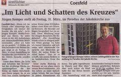 """""""Streiflichter"""" in Coesfeld vom 29.3.2017 berichtet über meine Fotoausstellung"""
