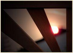 stuhllehne an sonnenuntergang...