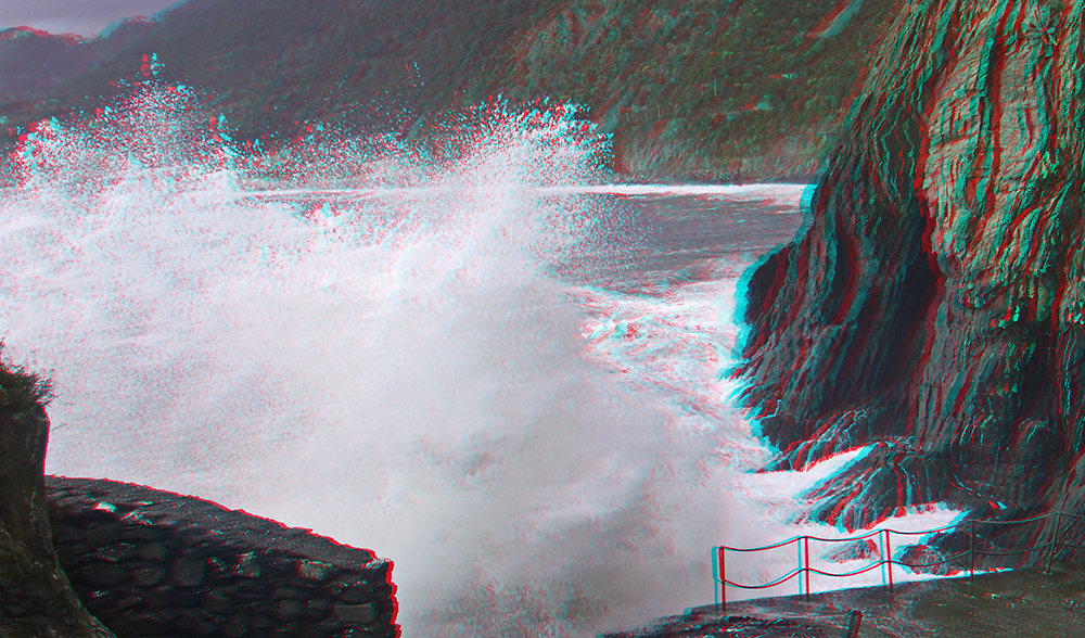 Sturmflut in Manarola (3D)