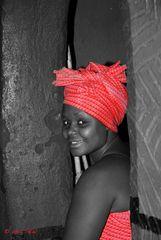 Südafrikanerin in Lesotho Dorf