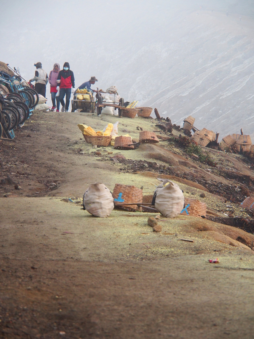 Sulfur Mining at Ijen Crater