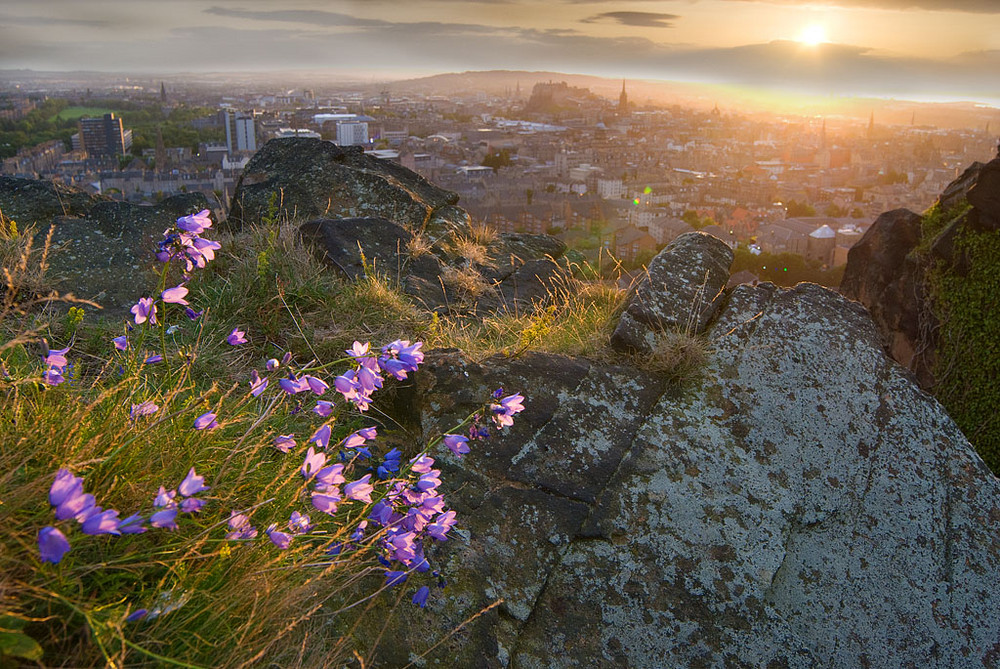 Summer sunset from Salisbury Crags, Edinburgh