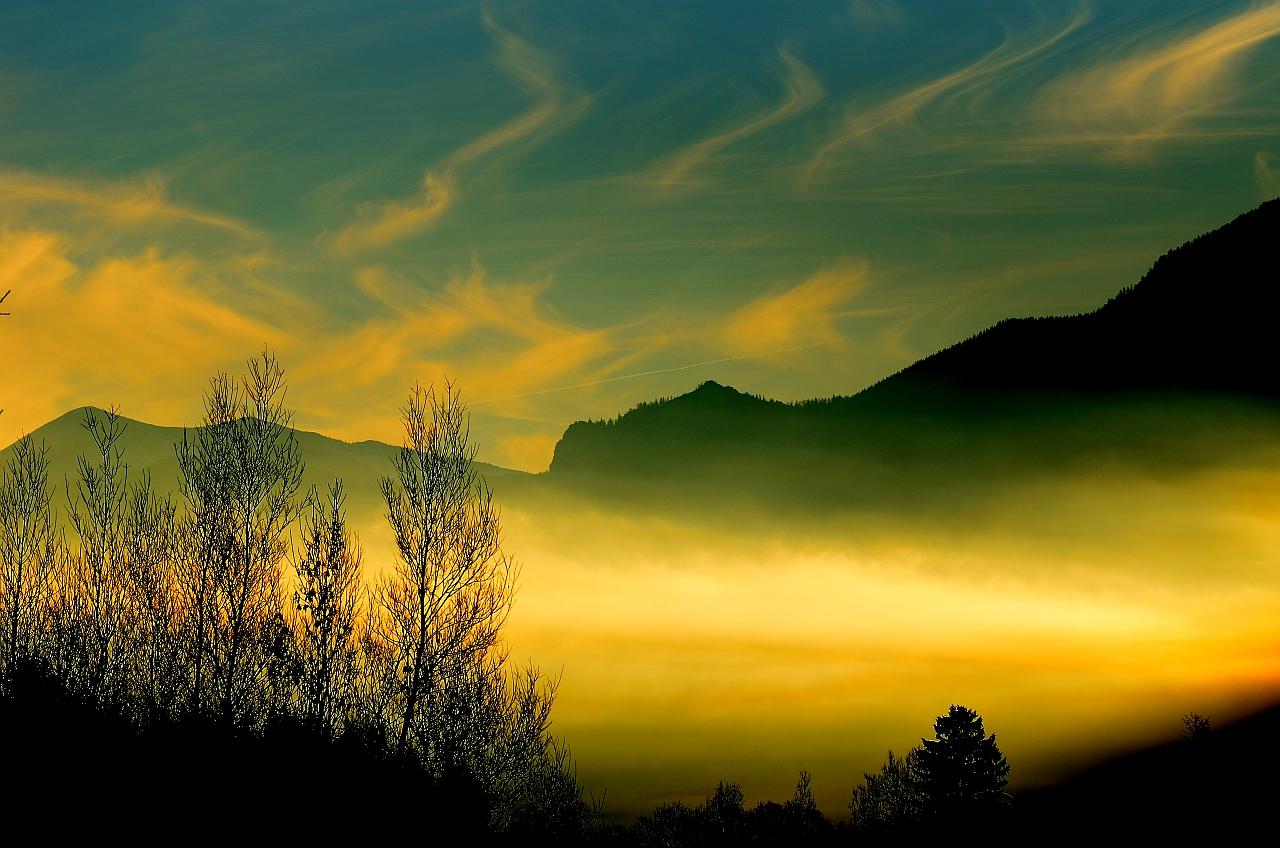 Sun meets Fog, Sonne und Nebel, Sol y niebla
