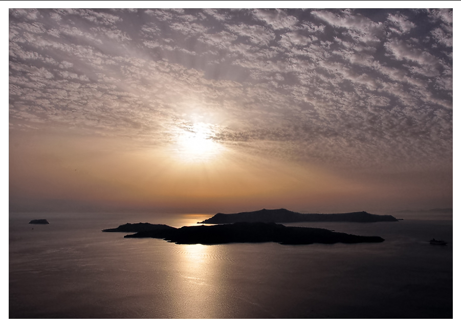 Sun sets on Santorini