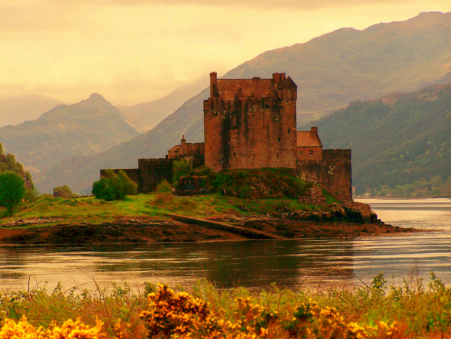 Sundown At Eilean Donan Castle. Scotland.