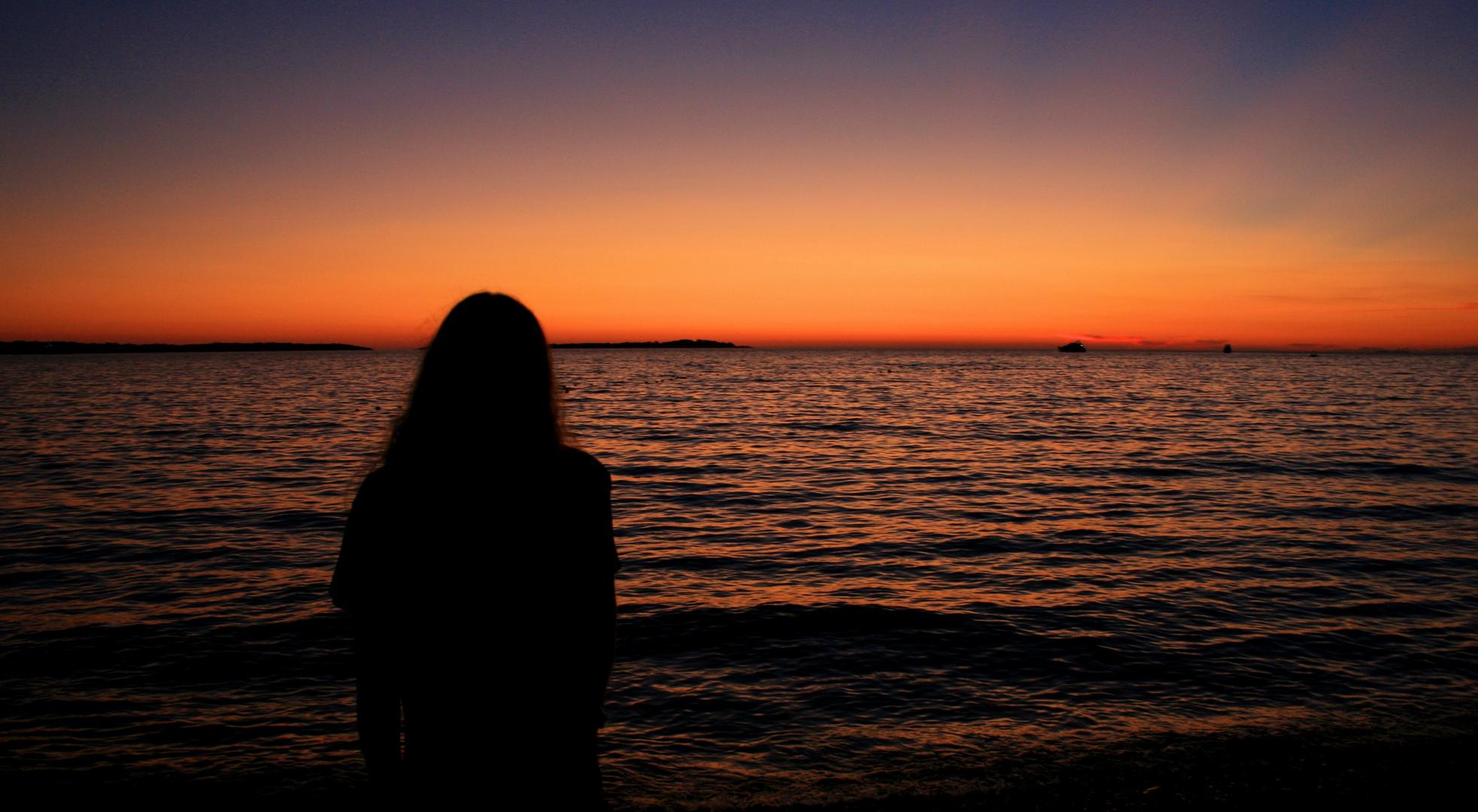 Sundown at sea level...