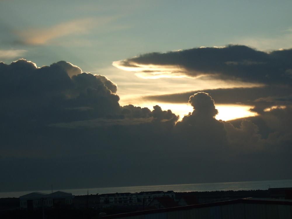 Sunrise at sea before typhoon