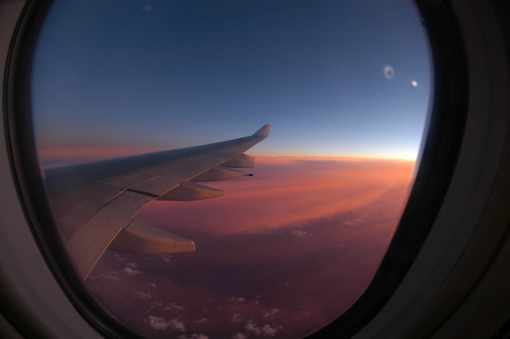 Sunrise from 35 000 feet over Africa