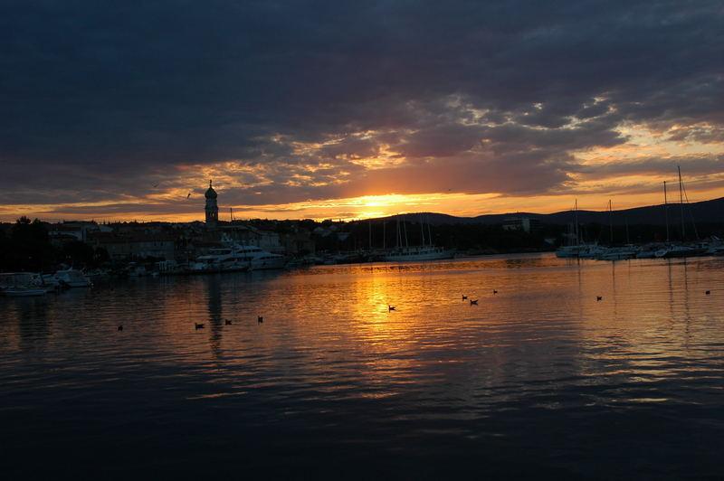 sunrise in krk , croatia