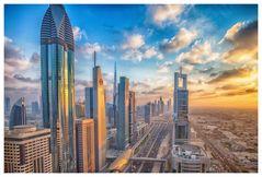 Sunset at Dubai Downtown