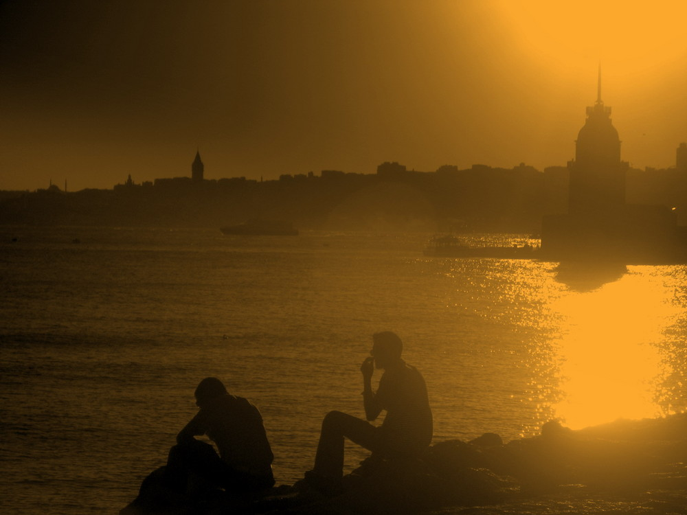 sunset at maiden tower - istanbul