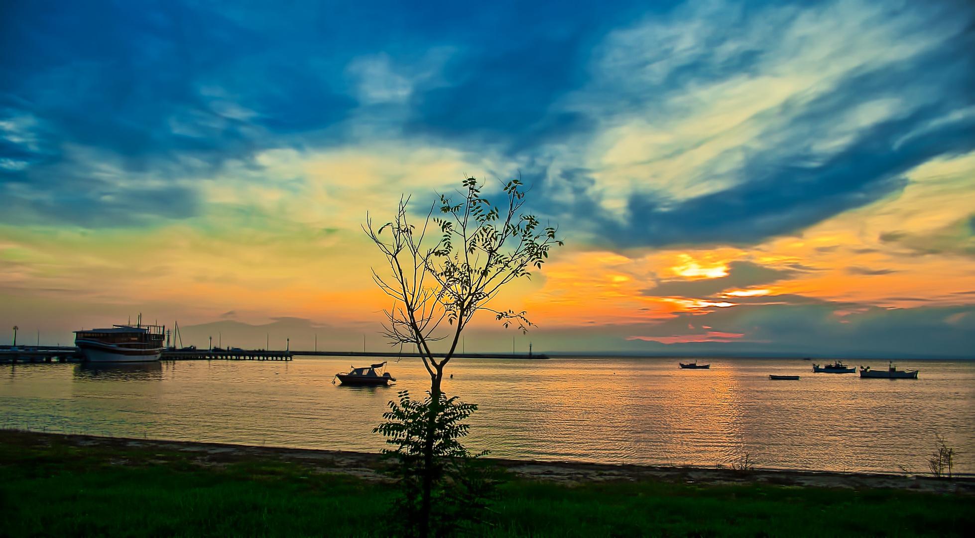 Sunset at Michaniona, Thessaloniki, Greece...