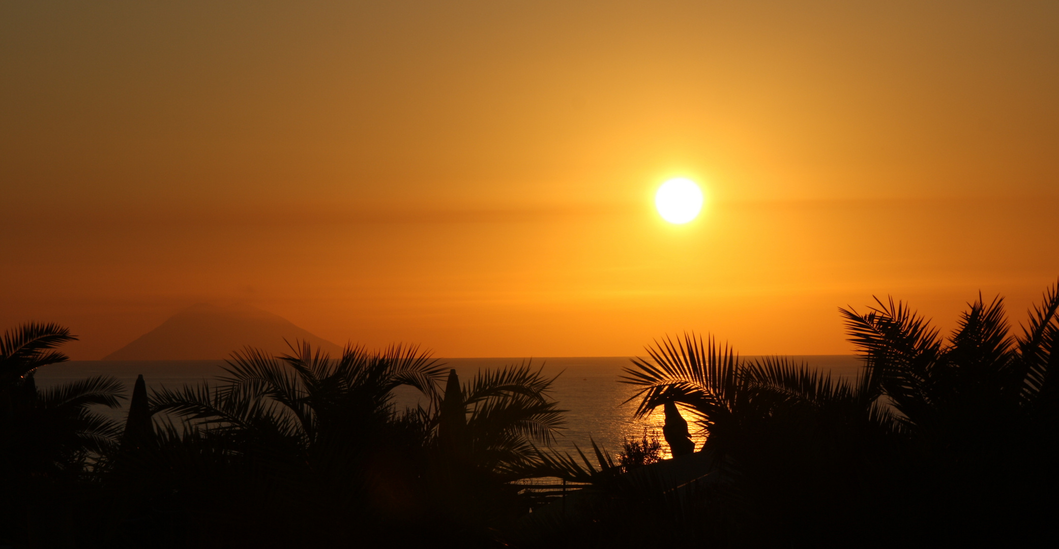 sunset at stromboli