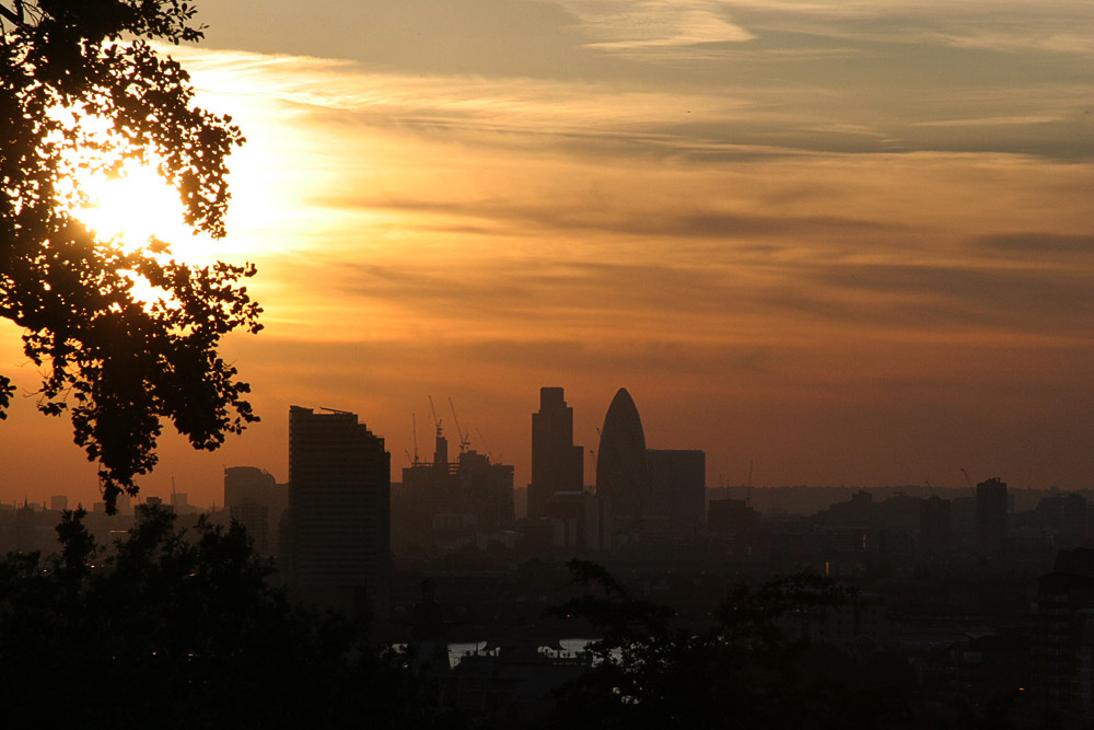sunset from greenwich