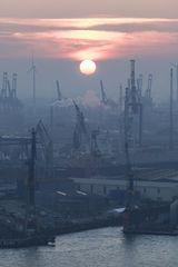 Sunset im Hamburger Hafen