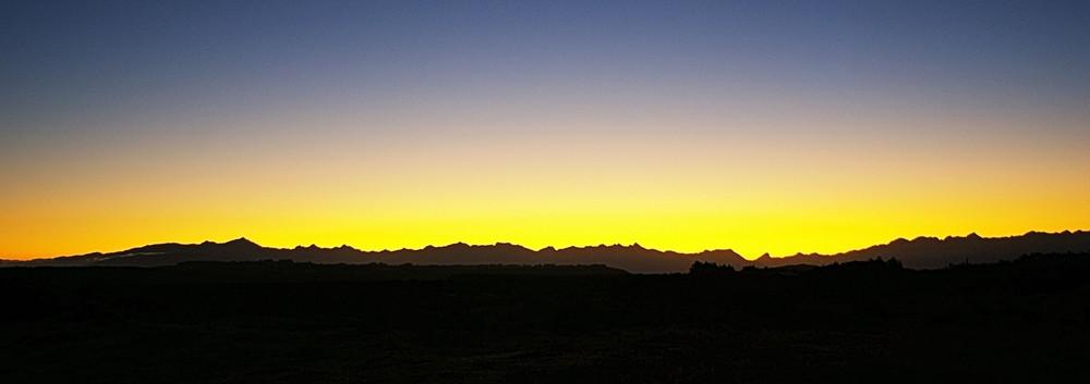 Sunset in Fiordland, New Zealand