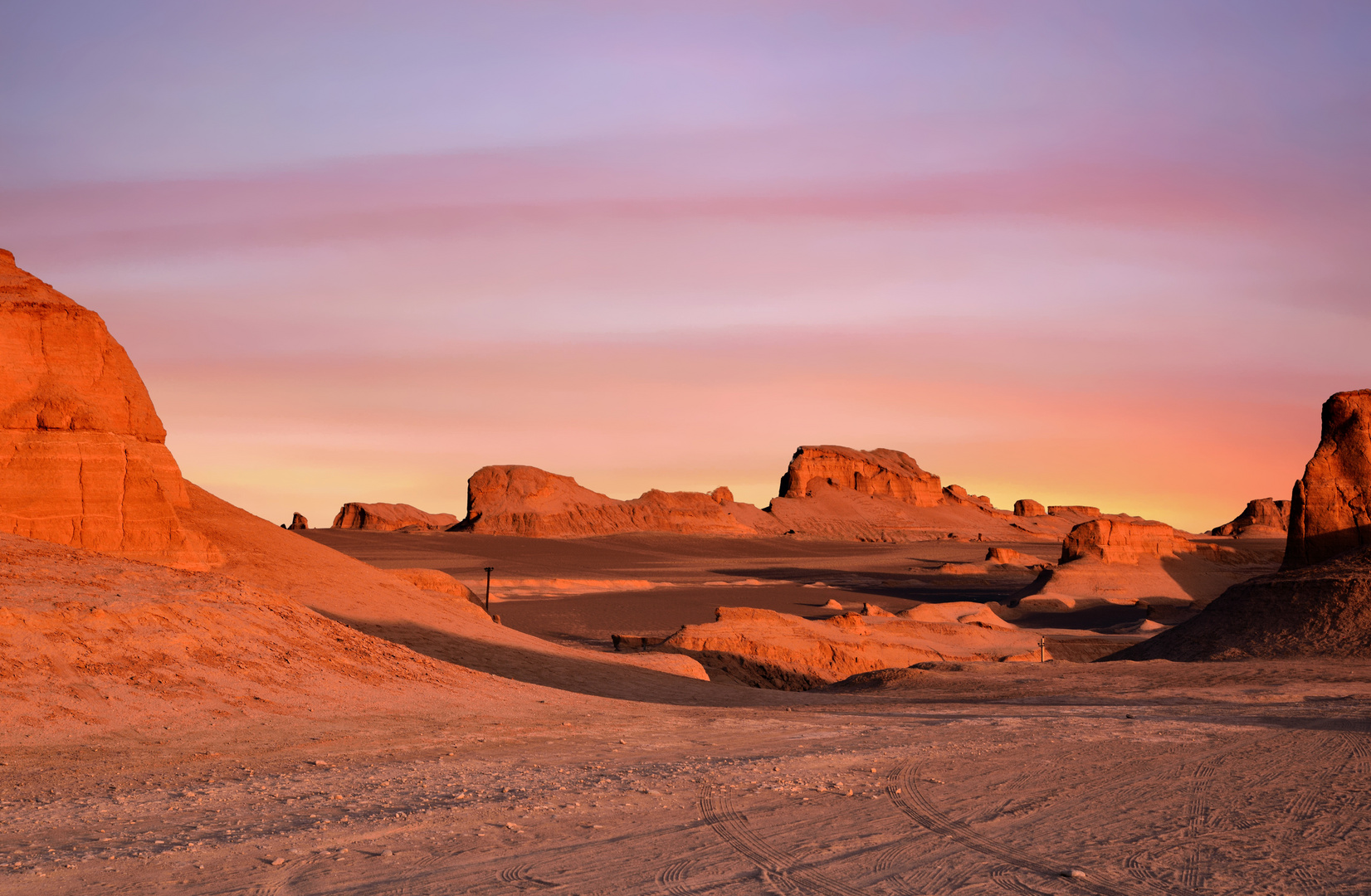 Sunset in Lut Desert.