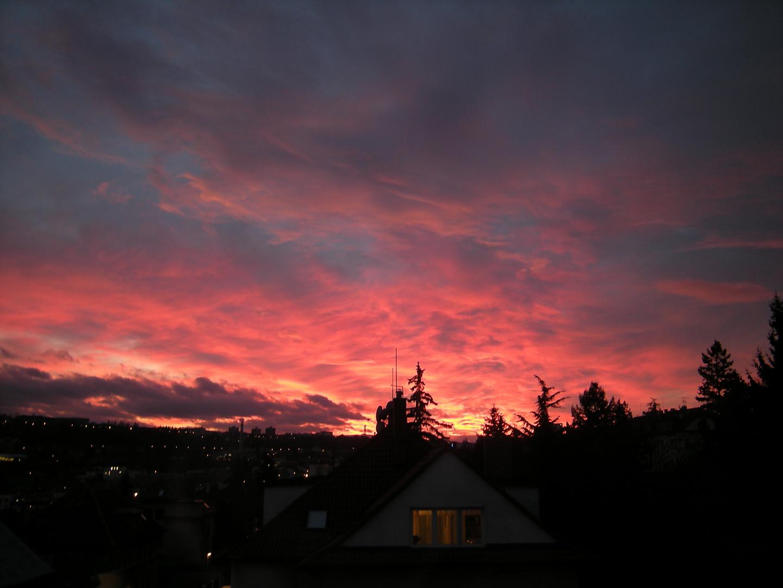 Sunset in PRAGUE, January, 2012
