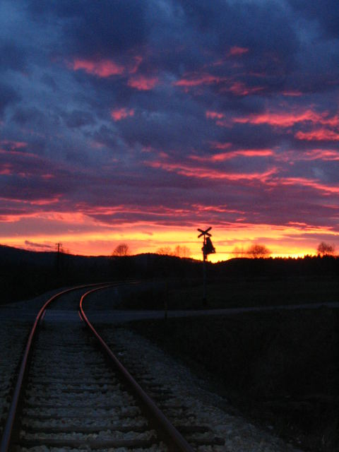 sunset in slowenia near austria
