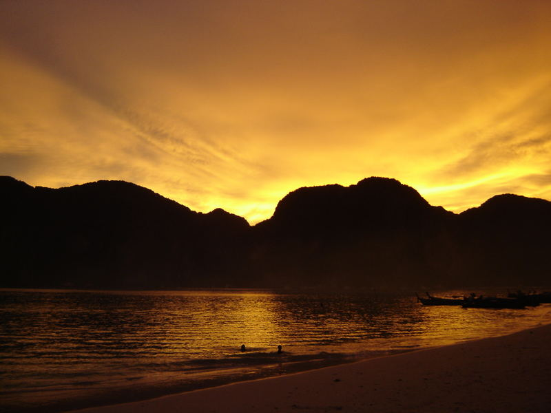 Sunset in Thailand at Phi Phi island