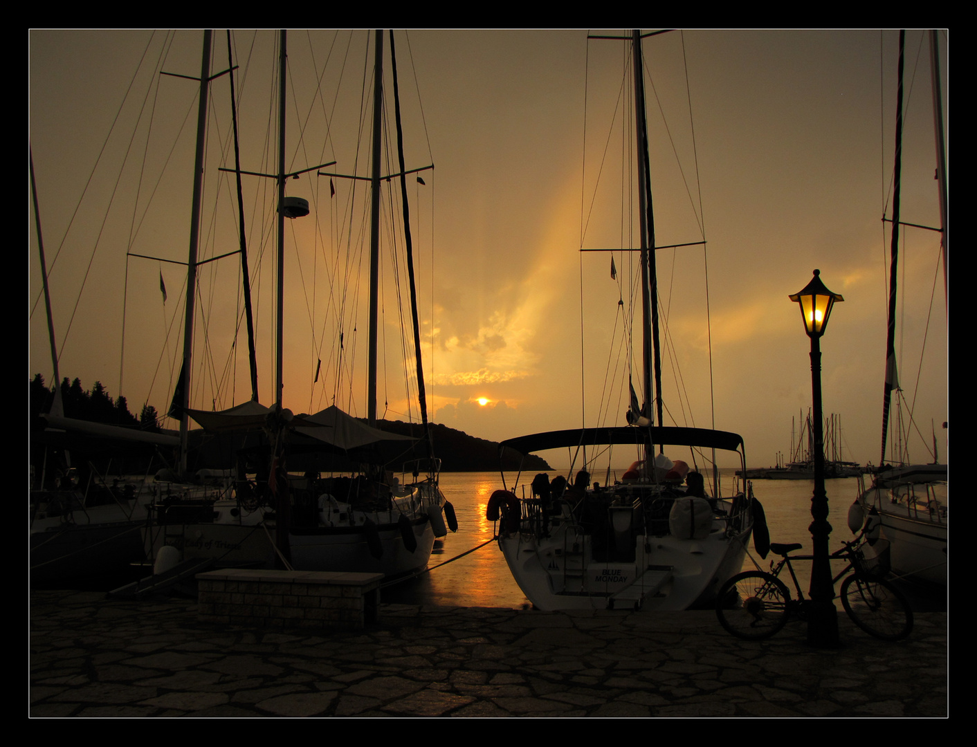sunset in the harbour