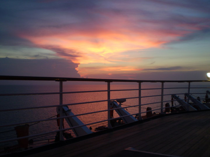 Sunset in the middle of  South Pacific Ocean