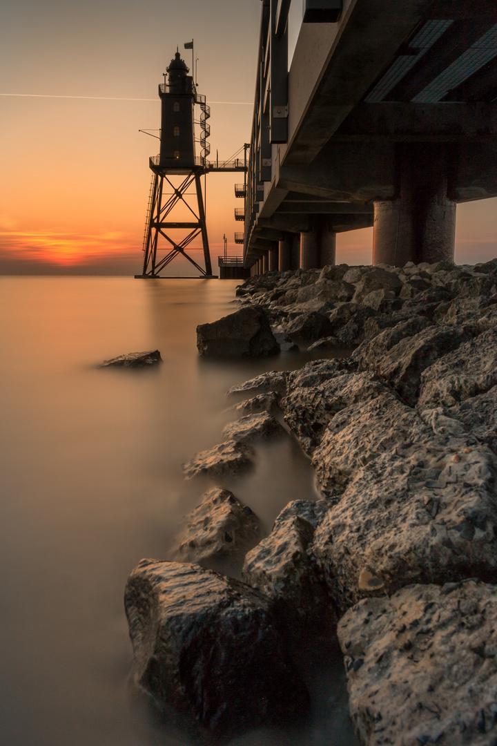 Sunset Leuchtturm Obereversand