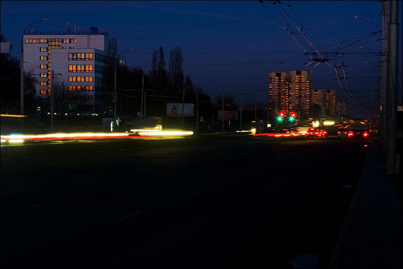 Sunset light in windows of city