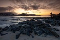 """Sunset Lofoten am Haukland-Beach, oder auch """"the Photographer"""" ;-)"""