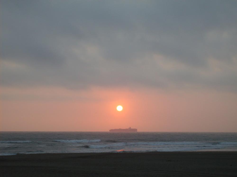 sunset on ocean beach in sanfrancisco(california)