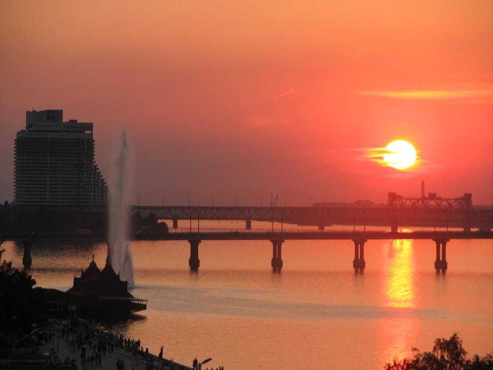 Sunset over Dnepr River