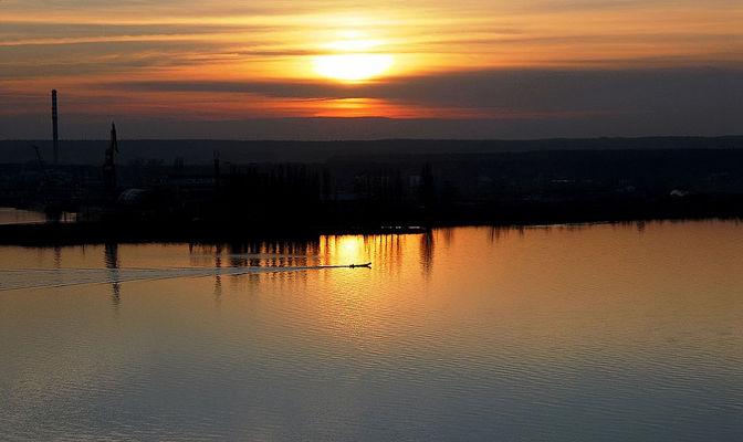 Sunset over the Vistula River in Plock.