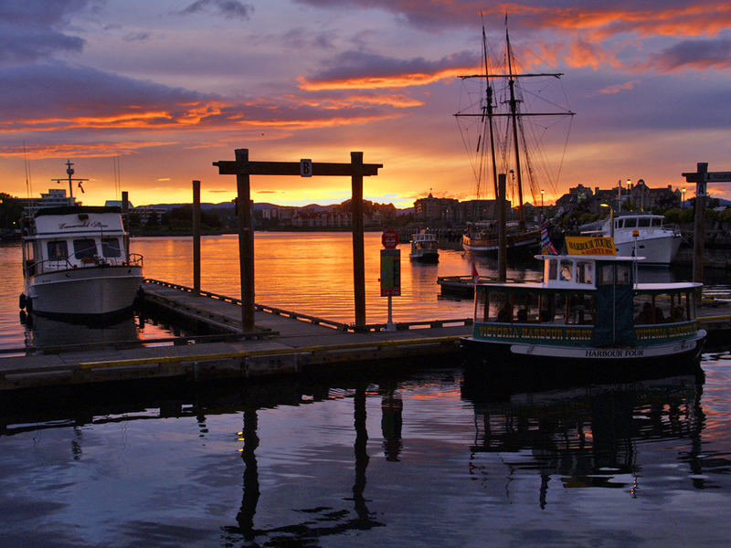 Sunset over Vancouver harbour