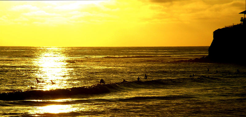 Sunset surf session, Tormaline, San Diego