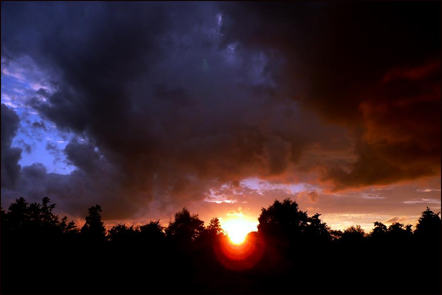 . sunset thunderstorm .