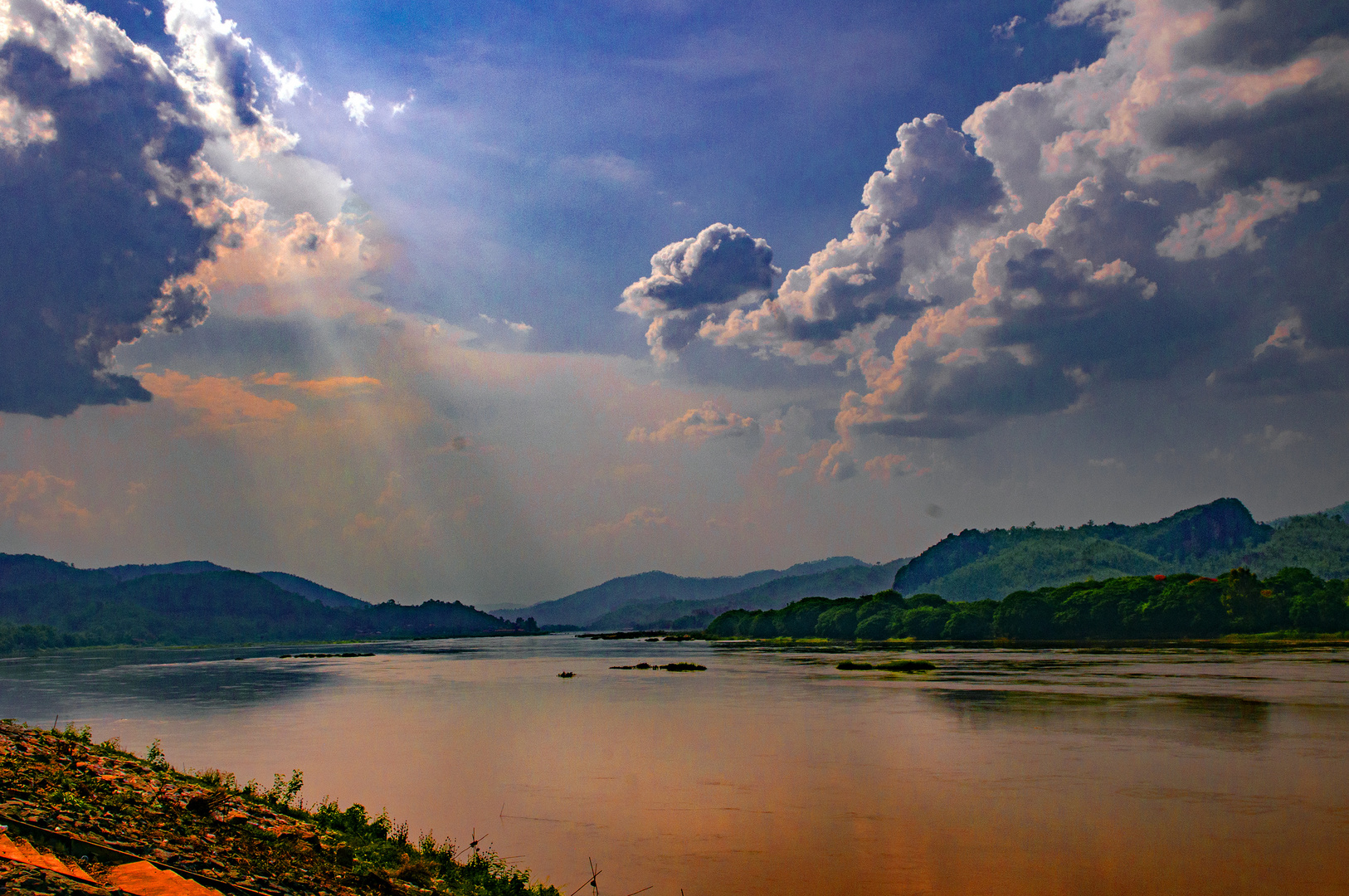 Sunset walk along the river bank
