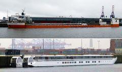Super Servant 4 bringt ein Flusskreuzfahrtschiff .