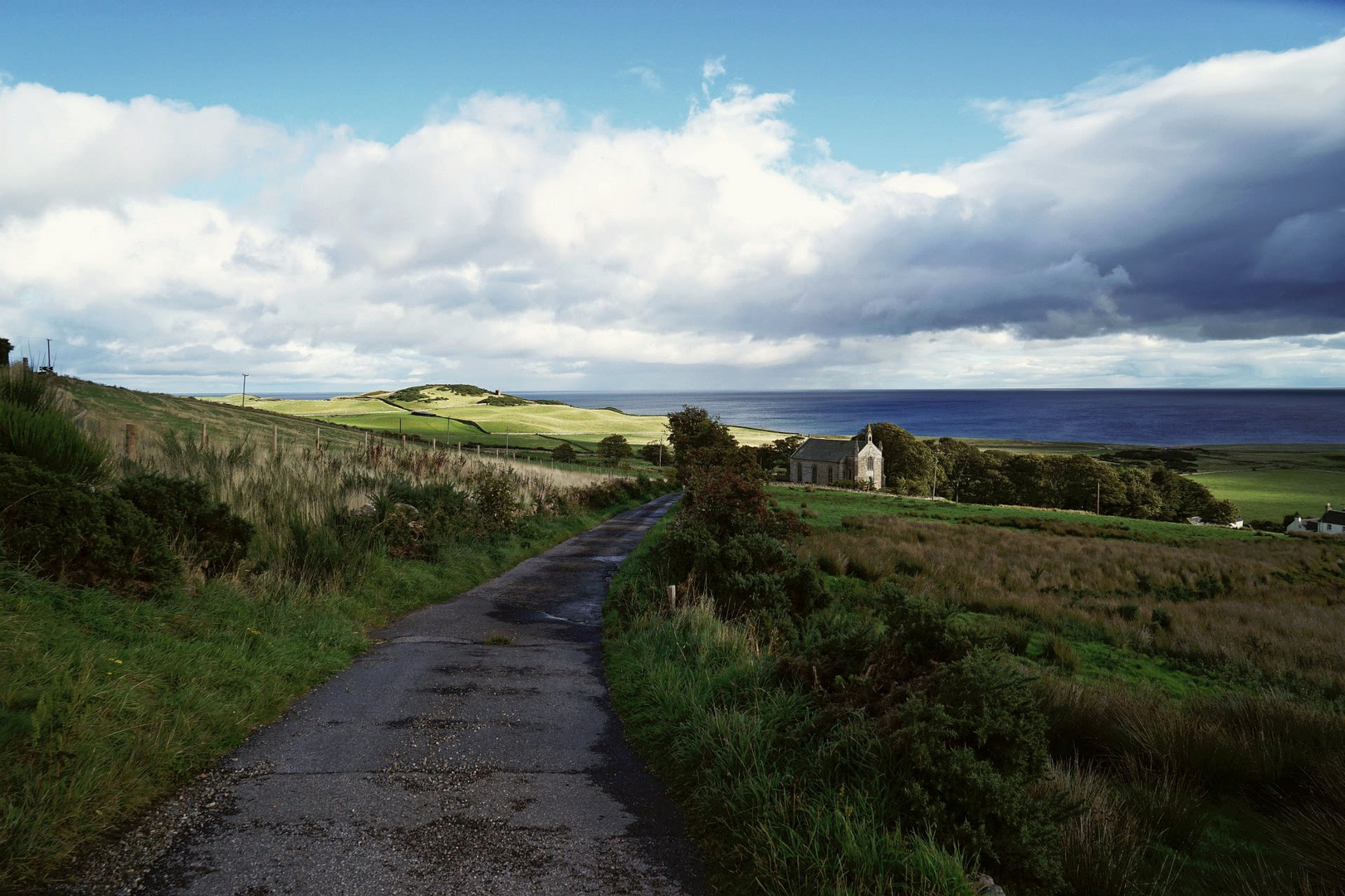 Sutherland, utter east of Scotland - coastal landscape with church