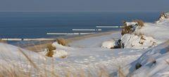 Sylt - Meer, Dünen vereiste Buhnen am Roten Kliff
