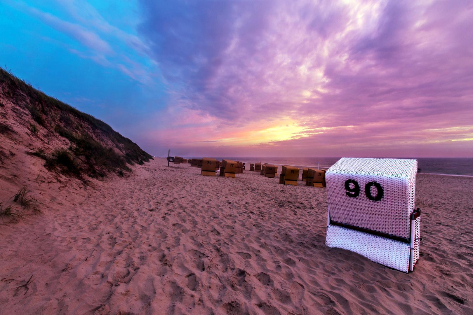 Sylt Sonnenuntergang Strandkorb Nr90