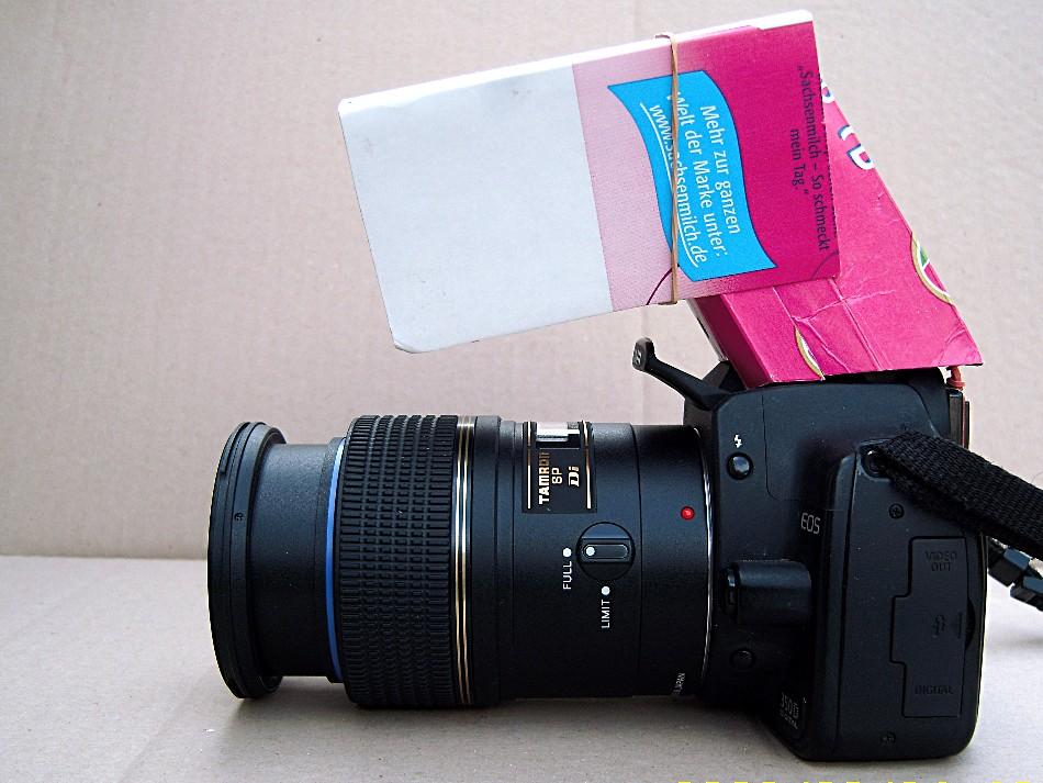 Systemblitzumlenkung für Makrofotografie