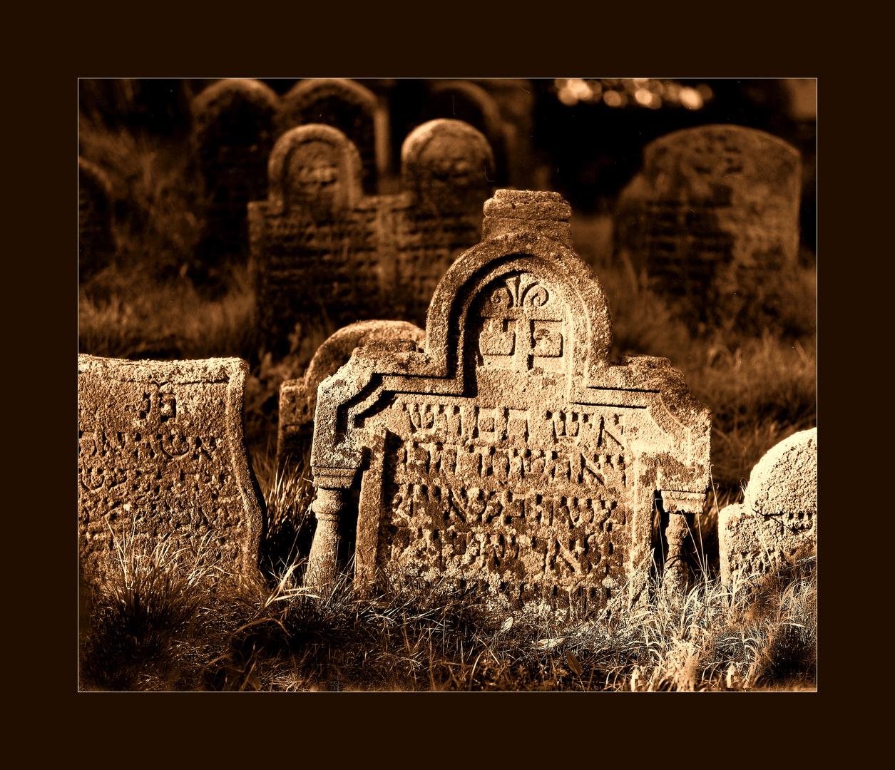 Szene im jüdischen Friedhof von Floss / Norbayern