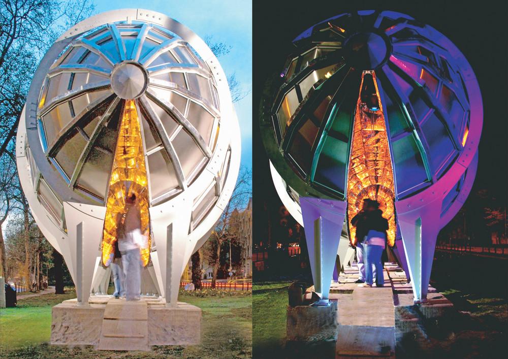 """Tages- und Kunstlichtskulptur """"Licht-Kokon"""" bei Tag/bei Nacht"""