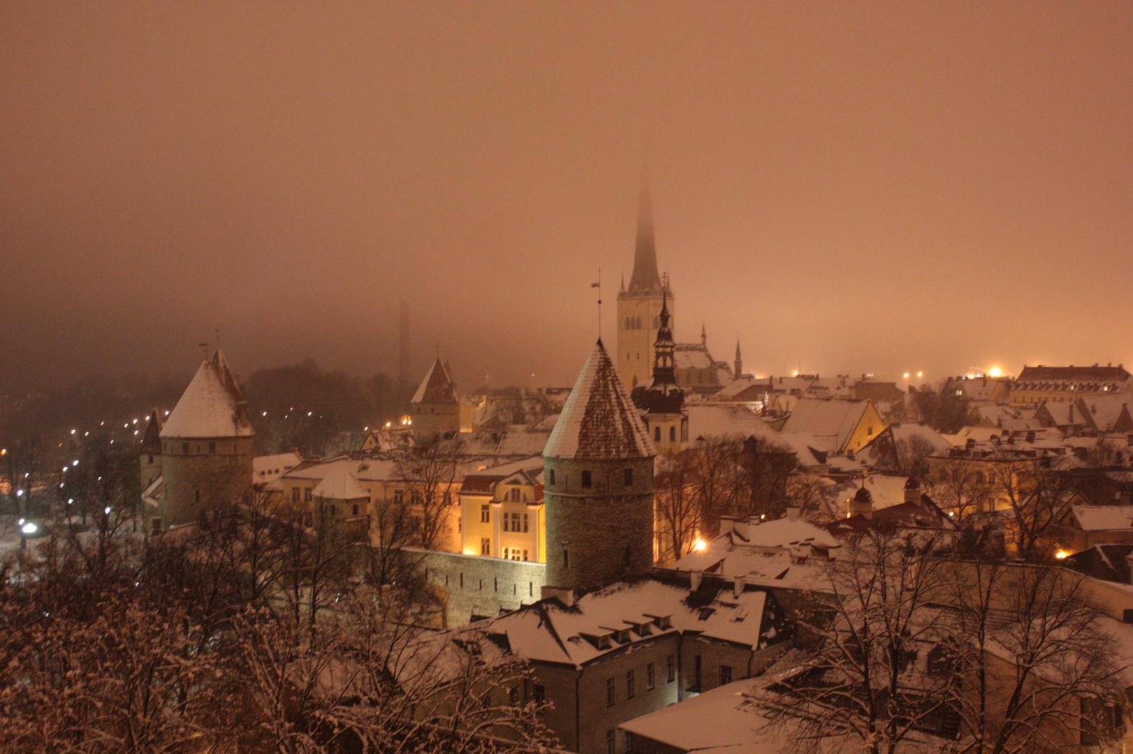 Tallinn at night.