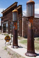 Tankstelle in Bodie, Geisterstadt in Kalifornien