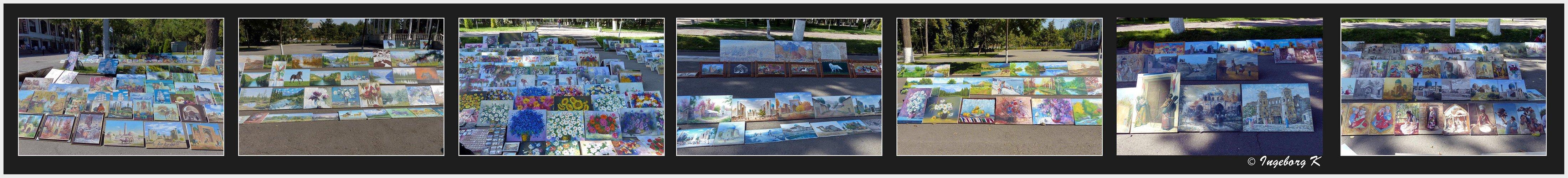 Taschkent - Bilderausstellung in der Fußgängerzone in einer Parkanlage